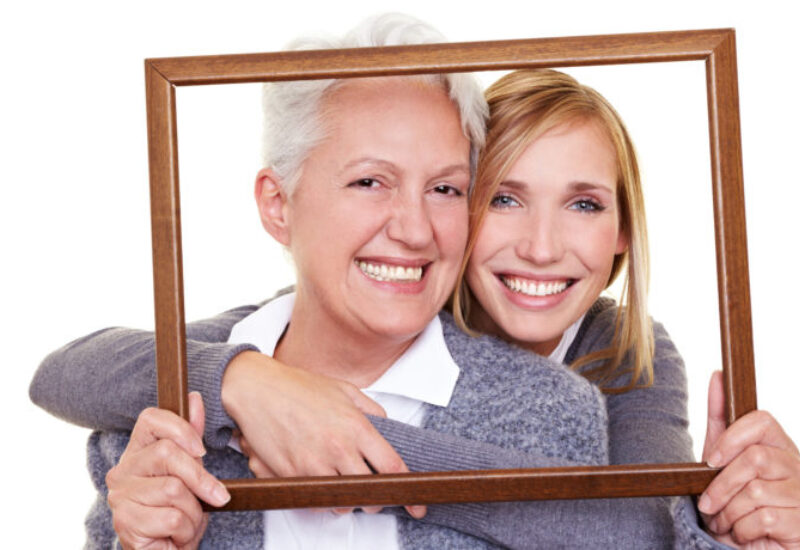 Two women in photo frame
